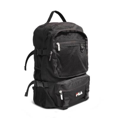 Fila 後背包 Net Backpack 運動休閒 男女款 大容量 工裝風格 雙肩背 上學 筆電夾層 黑 白 BPU9001BK