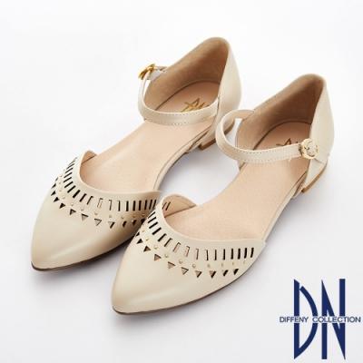 DN 法式浪漫 真皮電雕尖頭瑪莉珍跟鞋-卡其
