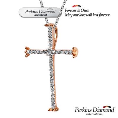 PERKINS 伯金仕 - 十字架系列 14K玫瑰金 鑽石項鍊
