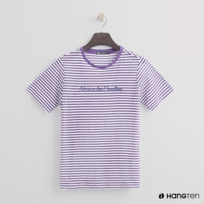 Hang Ten -女裝 - 糖果配色橫條紋短T - 紫