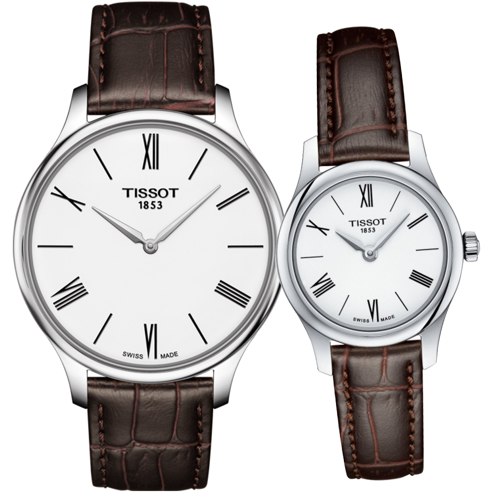 TISSOT天梭唯你寵愛超薄對錶-銀x白/40+26mm