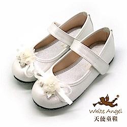天使童鞋 手工白色橙花公主鞋(中-大童)J942-白