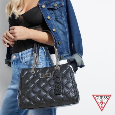 GUESS-女包-壓紋菱格鍊條手提包-黑