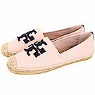 TORY BURCH Elisa 編織串珠LOGO麻料草編休閒鞋(粉色)
