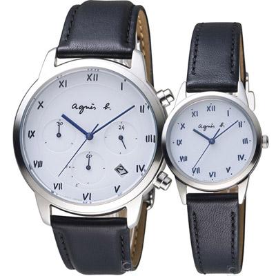 agnes b. 巴黎情緣時尚對錶 (BZ5001P1+BU9030P1)