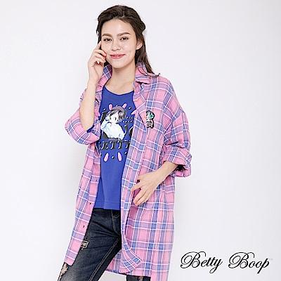 Betty Boop貝蒂 膠印縫釦七分袖柔棉上衣(共兩色)