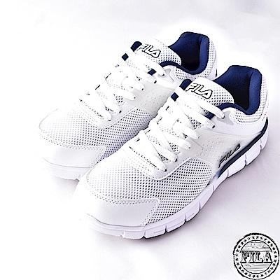 FILA男款輕量路跑鞋款~白1-J302S-131