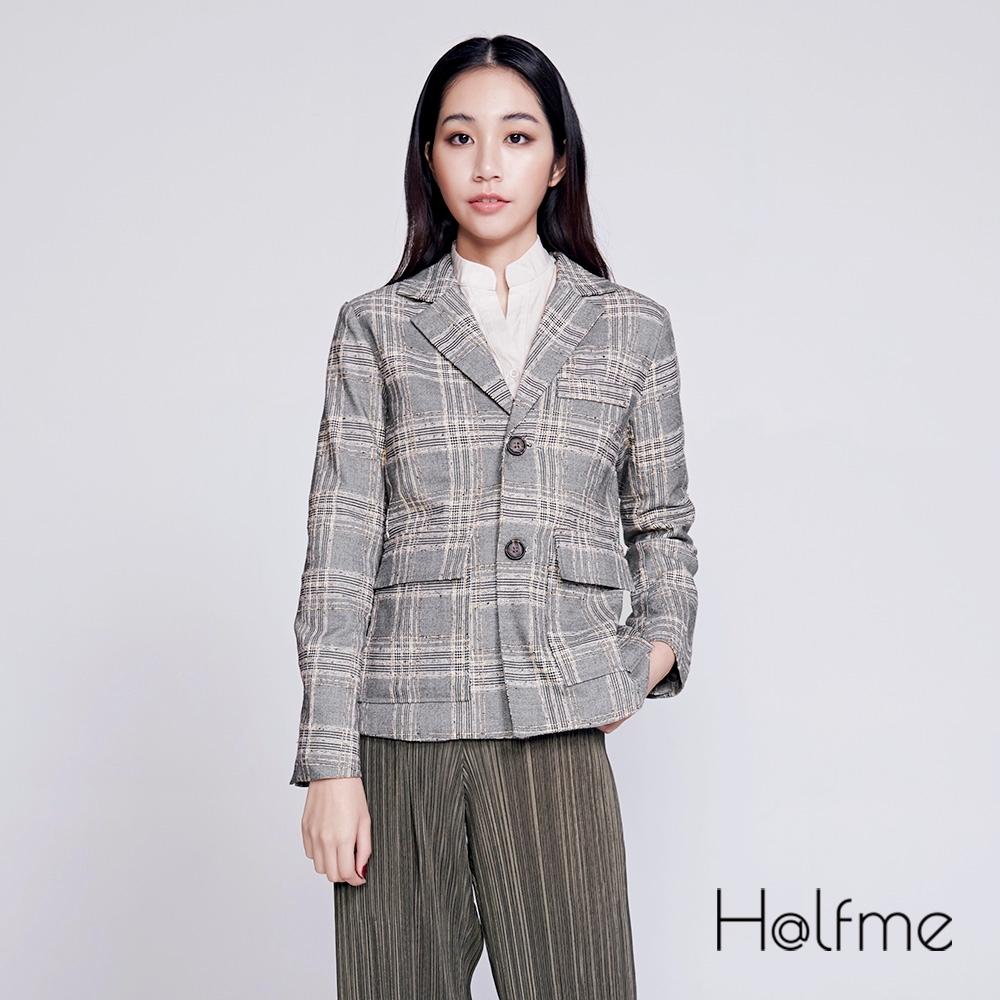 Halfme-經典格紋粗花呢西裝外套-女