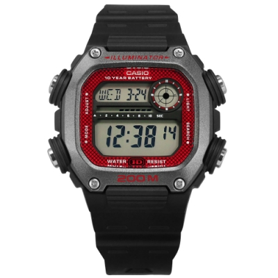 CASIO 卡西歐 電子液晶手錶-紅灰x黑/DW-291H-1B 41mm