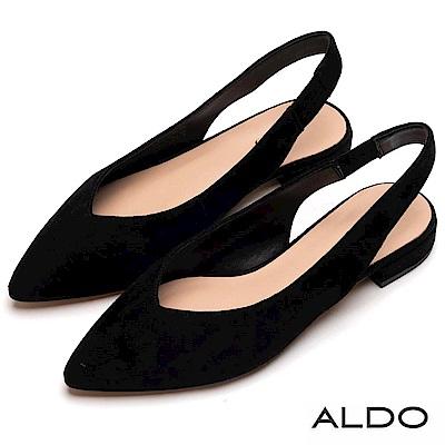ALDO 原色羊皮鞋面拉帶式尖頭粗跟平底鞋~尊爵黑色