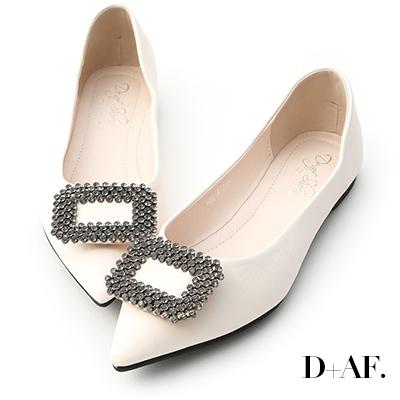 D+AF 華麗氣息.方形鑽飾尖頭平底鞋*白