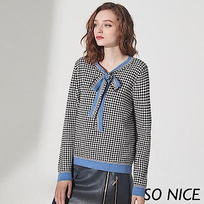 SO NICE俏麗綁結格紋針織上衣