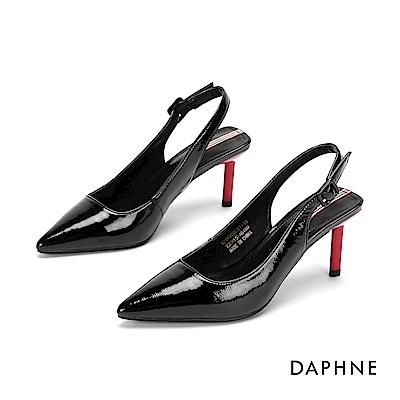 達芙妮DAPHNE 高跟鞋-時尚漆皮撞色尖頭高跟鞋-黑
