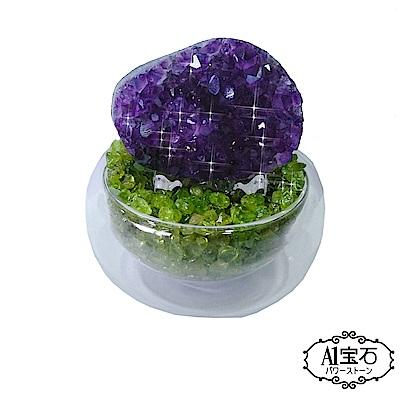 A1寶石  頂級晶鑽烏拉圭綠水晶補運聚寶盆開運招財助文昌(含開光)
