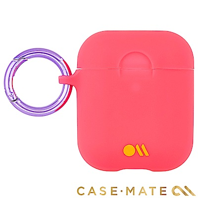 美國 CASE●MATE AirPods 炫彩保護套 - 蜜桃色 贈掛環及磁性防丟繩