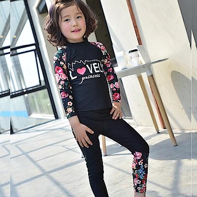 Biki比基尼妮泳衣   黑花長袖泳衣兒童泳衣小朋友(M-4XL)