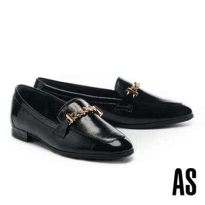 低跟鞋 AS 經典時髦全真皮鏈條方頭樂福低跟鞋-黑