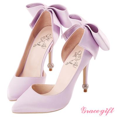 Disney collection by grace gift立體蝴蝶結圓鑽跟鞋 淺紫