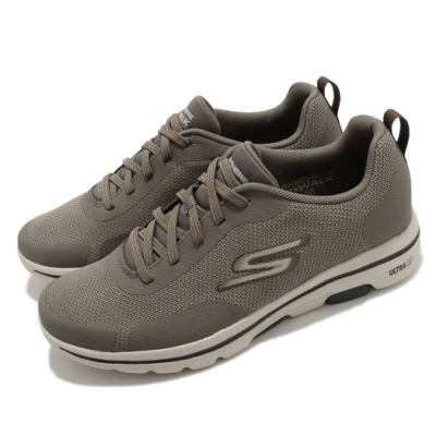 Skechers 休閒鞋 Go Walk 5-Truro 男鞋 健走 郊遊 踏青 避震 緩衝 回彈 黃褐 216037KHK