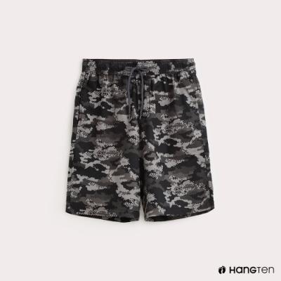 Hang Ten-男裝-抽繩綁帶百慕達褲-數位迷彩