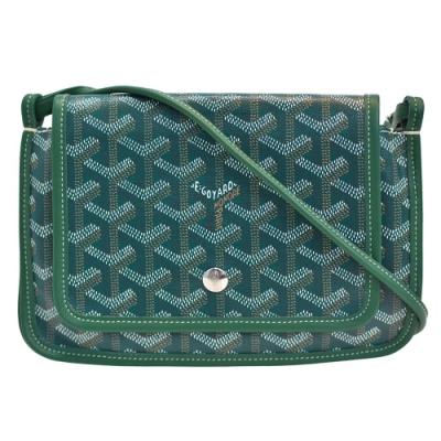 GOYARD Plumet系列防水帆布LOGO牛皮飾邊手拿/斜背包(綠)