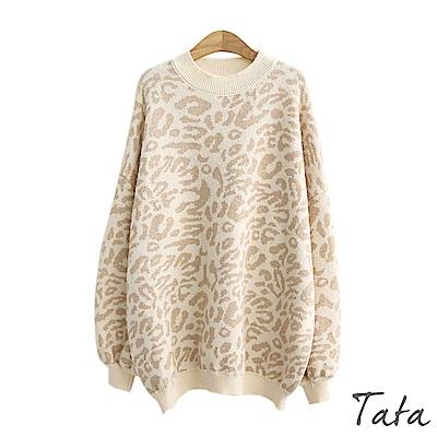 豹紋燈籠袖針織上衣-共二色-TATA