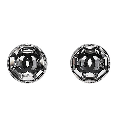 CHANEL 經典雙C LOGO圓形滾邊琉璃鑲嵌造型穿式耳環(銀)