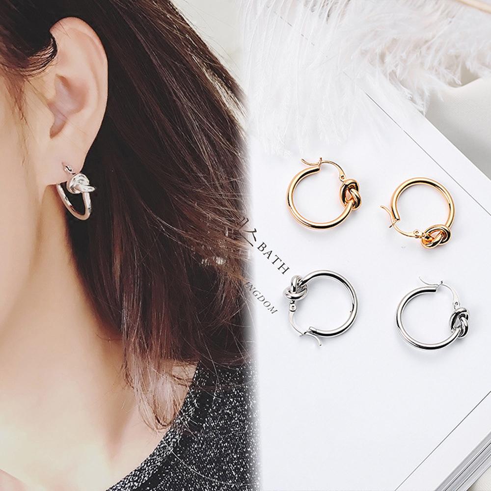 梨花HaNA 韓國冷淡風格打結圈飾耳環 (共二色)
