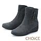 CHOiCE 復古絨布牛角釦 女 短靴 灰色 product thumbnail 1