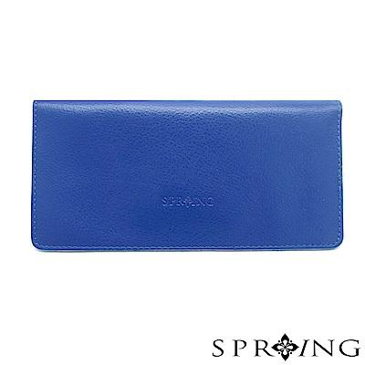 SPRING-甜心簡約真皮長夾-寶石藍