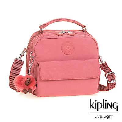 Kipling 後背包 豆沙霧粉素面-小