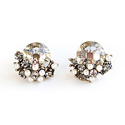 LOVERS TEMPO加拿大品牌 閃耀日出鑲嵌水晶珍珠耳環 銀灰