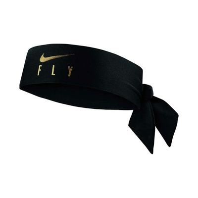 NIKE FLY ICON 綁帶式籃球頭帶-髮帶 有氧 DRI-FIT N1003547015OS 黑金