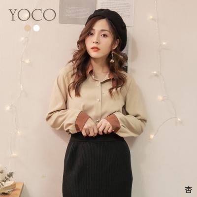 東京著衣-YOCO 低調奢華撞色領珍珠鈕釦磨毛上衣