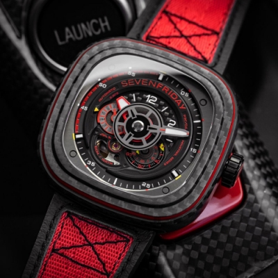 SEVENFRIDAY 限量紅色碳纖維 機械錶 P3C/04