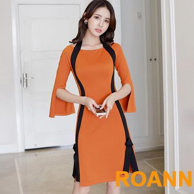 圓領撞色拼接七分喇叭袖包臀洋裝 (焦糖色)-ROANN