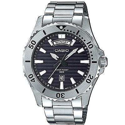 CASIO 經典限量黑水鬼造型設計不鏽鋼腕錶-黑 (MTD-1087D-1 )/51mm