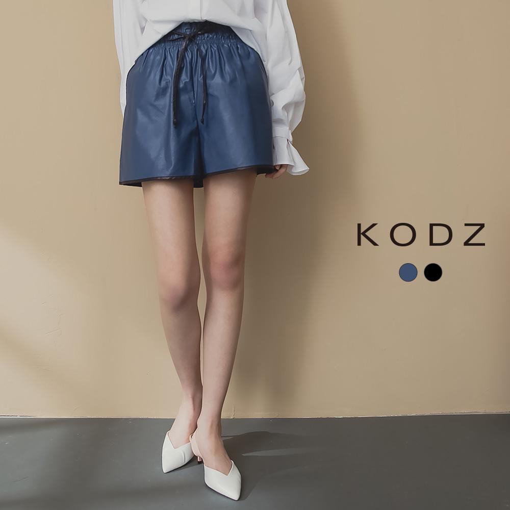 東京著衣-KODZ 休閒帥氣腰部抽繩滾邊配色異材質短褲(共二色)