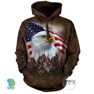 摩達客 美國The Mountain 國旗獨立鷹 中性套頭長袖連帽T恤