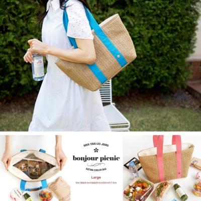 【韓國創意 invite.L】 時尚藤編設計 L號 保冷保溫餐盒便當袋 韓國空運