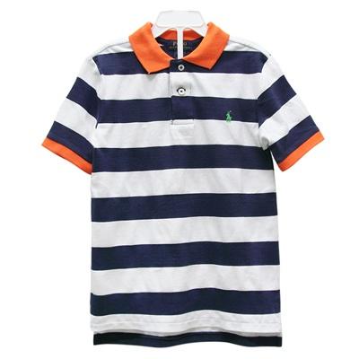 Ralph Lauren 男童經典小馬粗條紋短袖POLO衫-藍/白橘(3歲/3T)