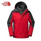 The North Face北面男款紅色保暖絨面三合一外套 3CGL65J