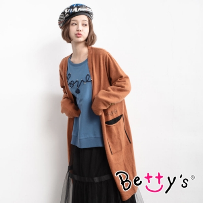 betty's貝蒂思 字母繡線長版針織線衫(深桔色)