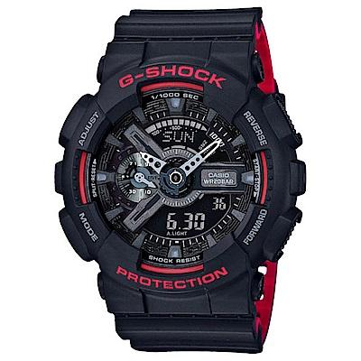 G-SHOCK 絕對強悍雙顯運動錶(GA-110HR-1A)-黑紅/51.2mm