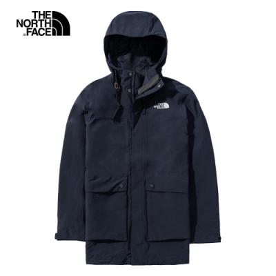 The North Face北面男款深藍色防水透氣衝鋒衣|4U7YH2G