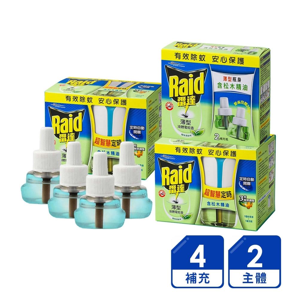 雷達 超智慧薄型液體電蚊香2主體+4補充-植物清新(補充瓶41mlx4入)