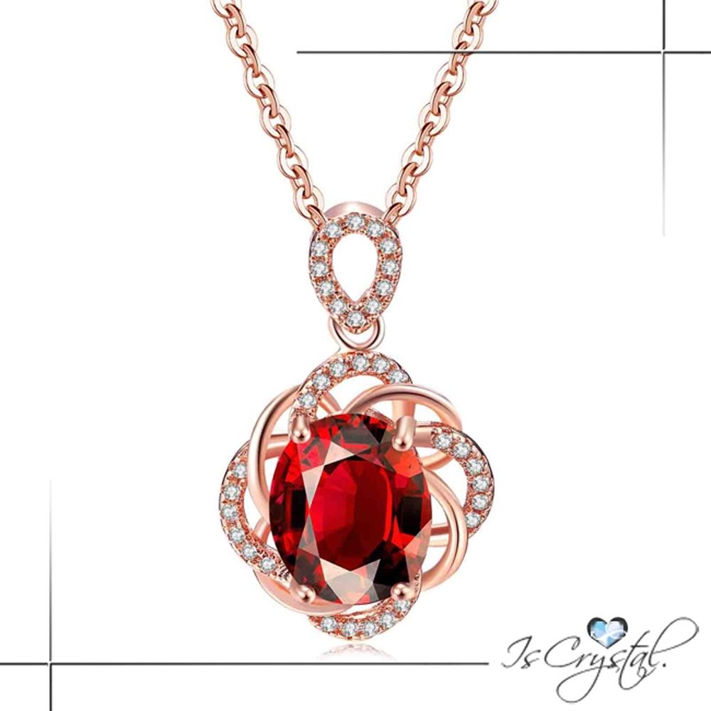 伊飾晶漾iSCrystal 溫柔紅花 纏綿水鑽玫瑰金項鍊