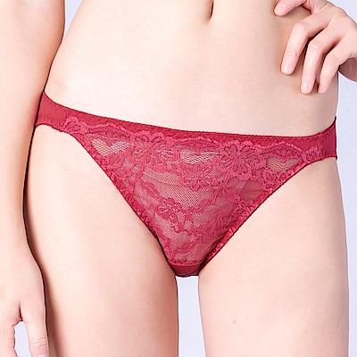 思薇爾 春舞花蝶系列M-XL蕾絲低腰三角內褲(血玫瑰)