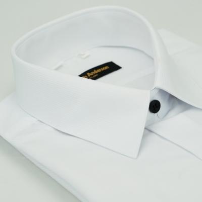 金‧安德森 白色斜紋黑釦吸排窄版長袖襯衫fast