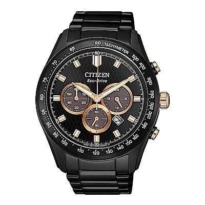 CITIZEN 星辰光動能三眼計時手錶(CA4458-88E)-黑/43mm